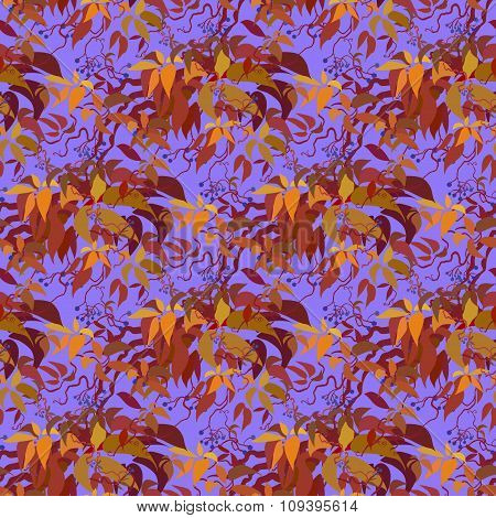 Seamless pattern. Autumn wild grape branches and orange red leaves.