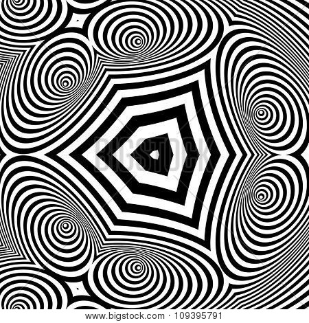 Black and White Abstract Striped Background. Optical Art. 3d Vector Illustration.