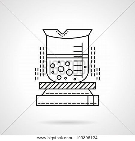 Heated beaker flat line vector icon.