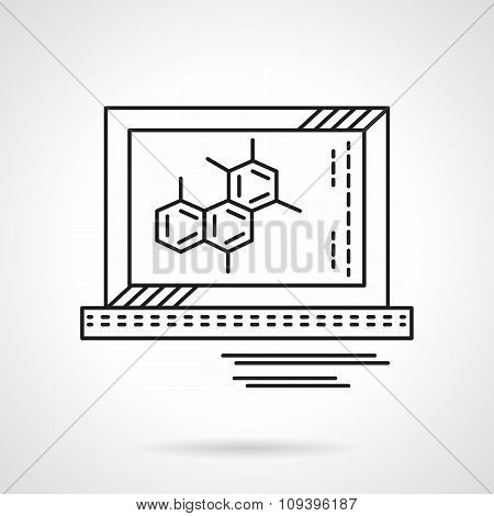 Molecule on monitor flat line vector icon