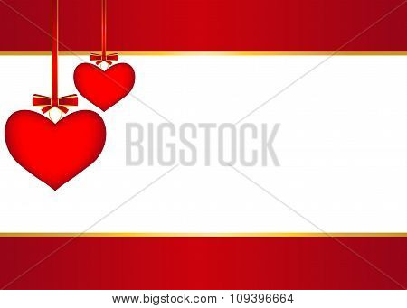 Red Background With Hanging Hearts
