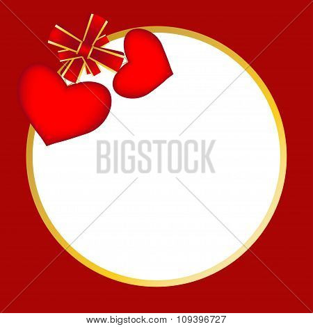 Red Round Background With Two Hearts