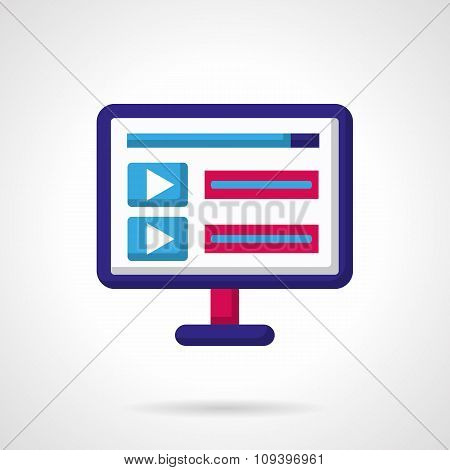 Blue and pink vector icon for video