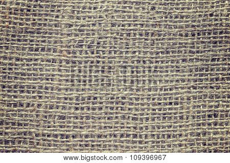 Vintage Toned Close Up Picture Of Natural Jute Fabric
