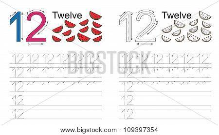 Tracing worksheet for figure twelve