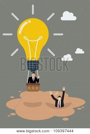 Businessman In Lightbulb Balloon Get Away From Quicksand