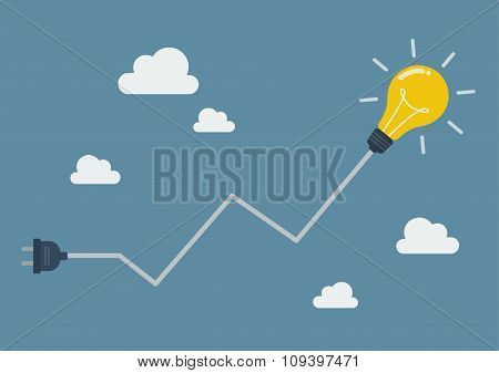 Light Bulb With Abstract Graph