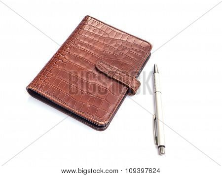 Leather Diary Book Cover And Pen