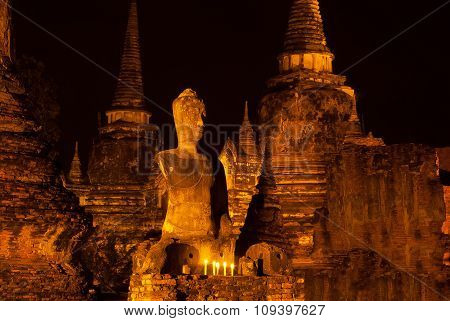 Night Scene Of Wat Phra Si Sanphet, Phra Nakhon Si Ayutthaya,Thailand.