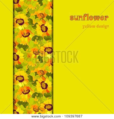 Floral sunflower and leafs vertical border design. Vertical strip pattern.