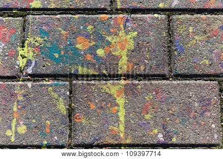 Multicolored Spots Of Paint On A  Slab