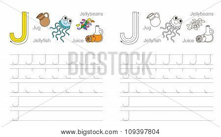 Tracing worksheet for letter J