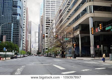 PHILADELPHIA - September 2, 2014: intersection of 20th St and Market St