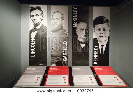 WASHINGTON - September 1, 2014: Famous quotations and portraits of American presidents at Museum of Crime & Punishment
