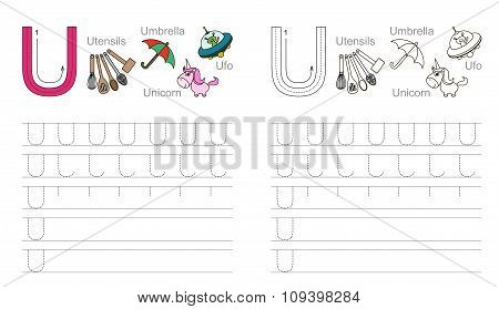 Tracing worksheet for letter U