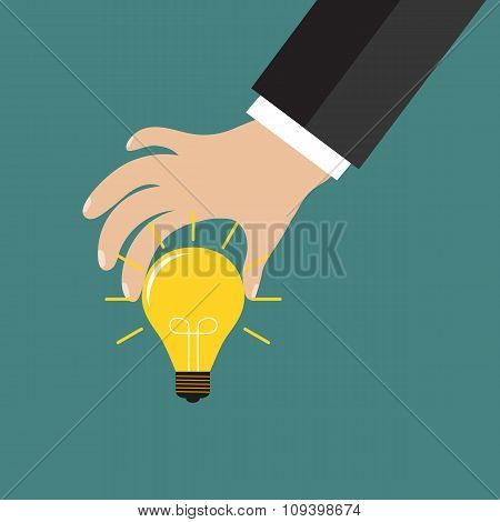 Cartoon businessman hand holding idea light bulb