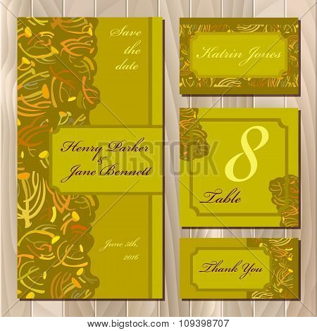 Autumn tansy twigs. Wedding card set. Printable Vector illustration