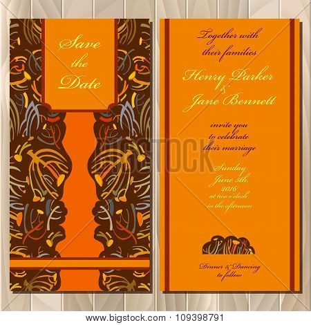 Autumn tansy wedding invitation card. Printable Vector illustration