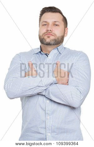 adult male with a beard. isolated on white background. demonstration of superiority