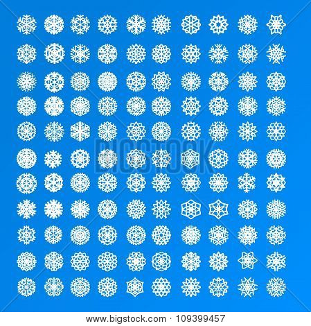 Set of 100 and 10 different isolated exclusive various white snowflakes on a blue background for gif