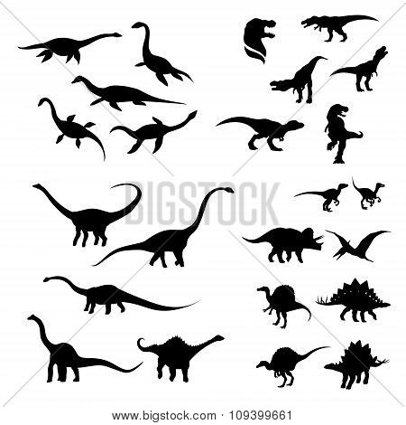 Big set of dinosaurs silhouettes.