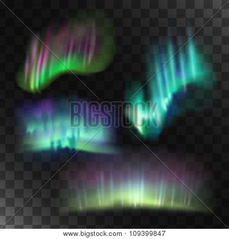Northern lights vector set.