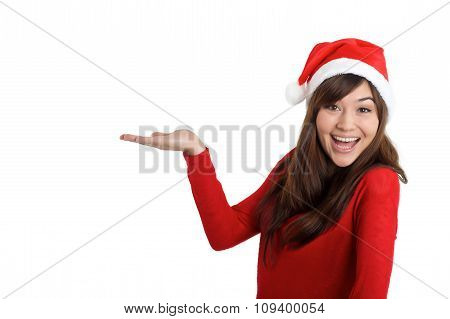 Santa Claus Christmas Woman Holding Product