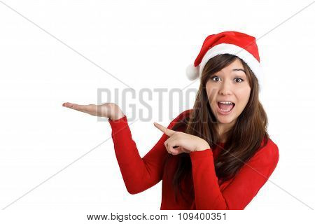 Santa Claus Christmas Woman Surprised Pointing Product