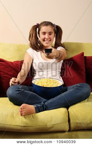 Teen With Popcorn