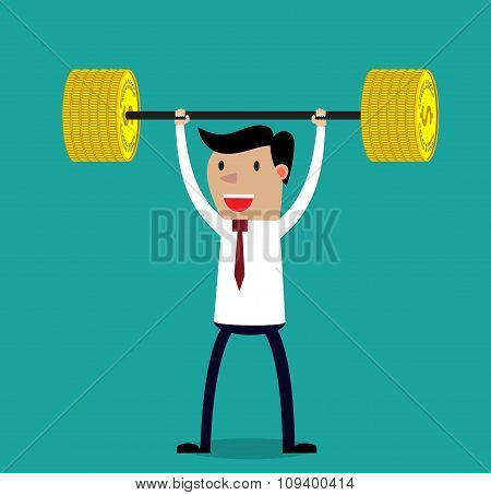 Business executive power lifting barbell