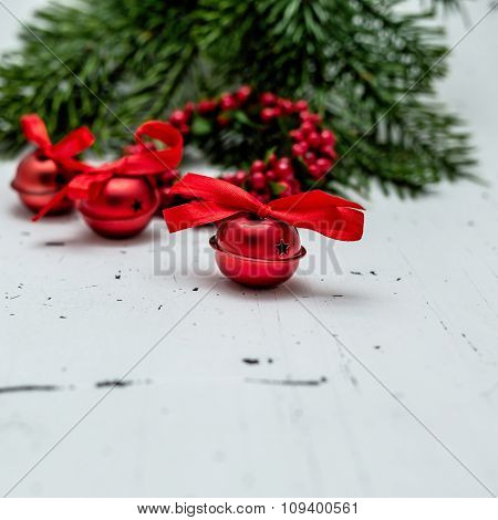 Red Christmas Bells With Red Ribbons