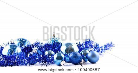 Blue Christmas Tree Balls And Decorations Isolated On White Background
