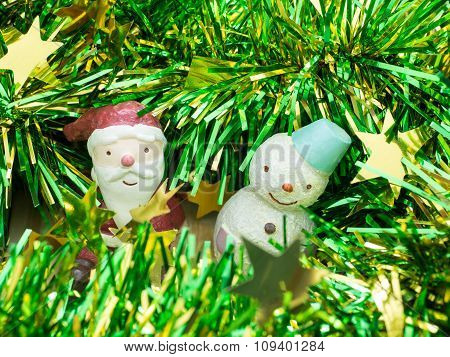 Santa Claus & Snow Man , Decoration Merry Christmas & Happy New Year, Select Focus Style