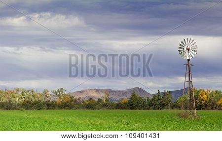 Wind Pump On A Farm