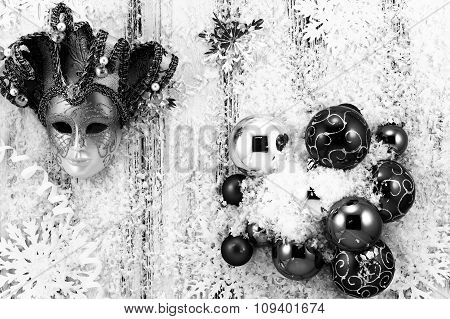 New Year Theme: Christmas Tree White And Silver Decorations, Balls, Snow, Snowflakes, Serpentine And