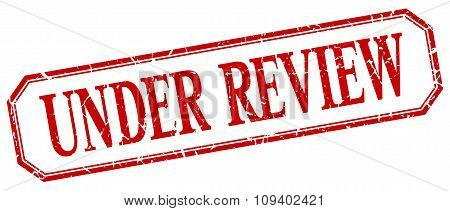 Under Review Square Red Grunge Vintage Isolated Label