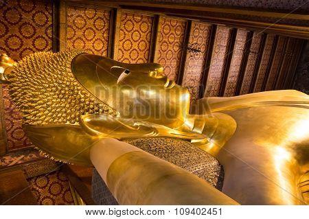 Reclining Buddha At Wat Pho, Bangkok, Thailand,