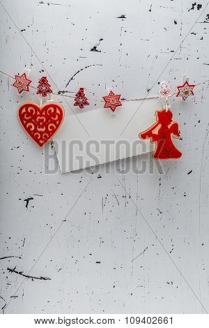 Christmas Decorative Figures On White Background