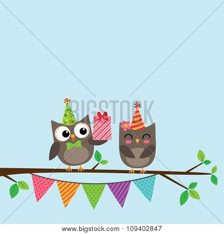 Couple of owls card