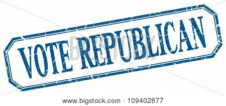 Vote Republican Square Blue Grunge Vintage Isolated Label
