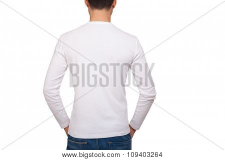Back portrait of a man wearing a white t-shirt with long sleeves