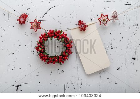 Christmas Decorative Baubles On Vintage Background