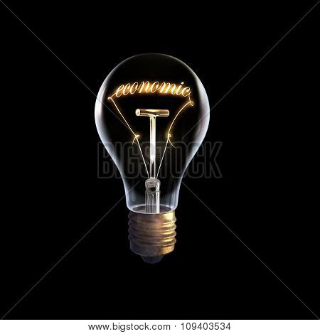 Glowing glass light bulb with concept inside on dark background