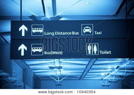 Directional sign of an international Airport