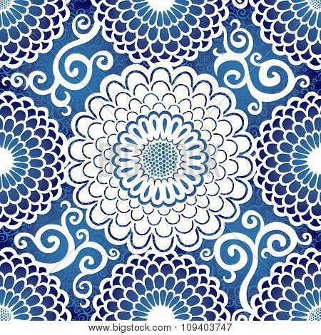 Ornamental Seamless Pattern With Large Circle Flowers.
