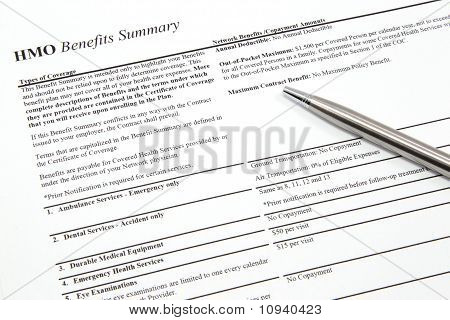 Hmo Benefits Summary With Pen