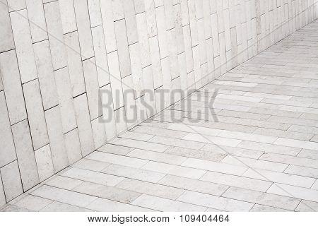 White brick wall texture light sidewalk, pavement