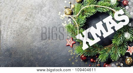 Christmas composition on dark vintage background