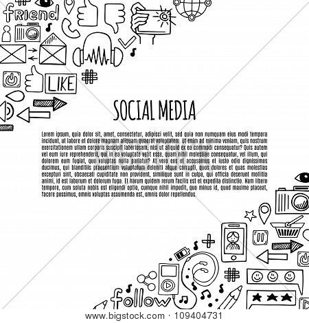 Banner Social Media Sketch Icons Design Illustration. Doodle Illustration