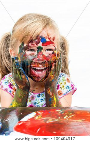Child Having Fun Painting With Hands.